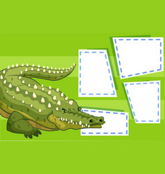 a crocodile on blank note vector image