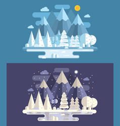 Abstract winter landscape by day and night vector