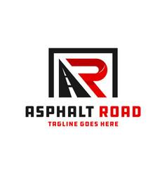 Asphalt road construction logo with letters ar vector