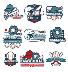 Baseball icon templates set of player bat vector