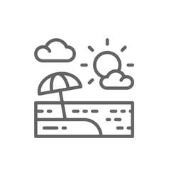 beach umbrella in sand landscape line icon vector image
