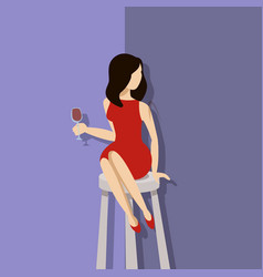 beautiful stylish woman sitting at a cocktail bar vector image