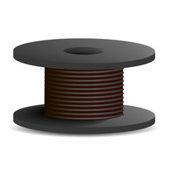 Black cable coil icon realistic style vector