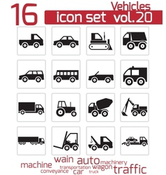 Black vehicle icon set vector