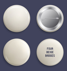 Blank beige glossy badges or web buttons vector