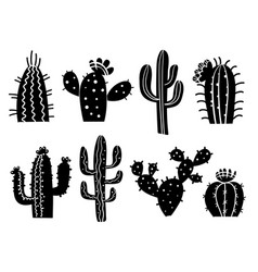 Cactuses silhouette set cactuses aloe and vector