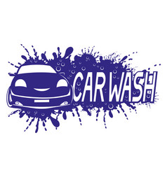 Car wash sign with water splash vector