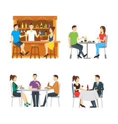 cartoon characters people in restaurant set vector image