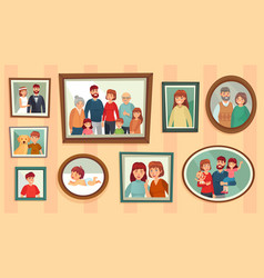 cartoon family photo frames happy people vector image