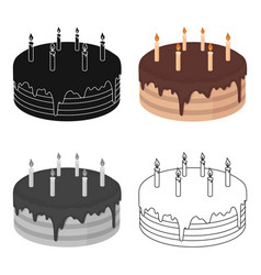 Chocolate cake icon in cartoon style isolated on vector