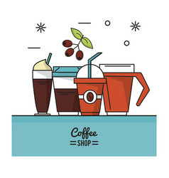 colorful poster of coffee shop with different vector image