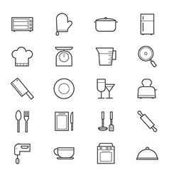 Cooking and Kitchen Utensil Icons Line vector image