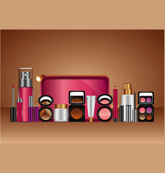 cosmetics makeup template vector image
