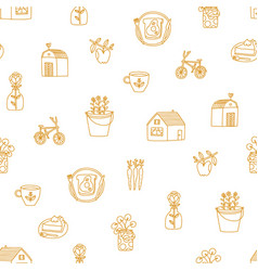 countryside romance outline doodles pattern vector image