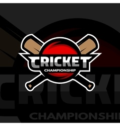 Cricket sports logo ball and bat vector