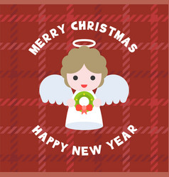 Cute angel for merry christmas flat design vector