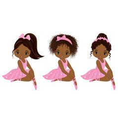 Cute little african american ballerinas vector