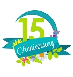 Cute nature flower template 15 years anniversary vector