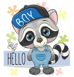cute raccoon isolated on a white background vector image