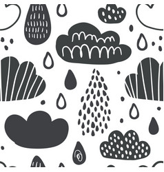 cute seamless pattern with smiling clouds vector image