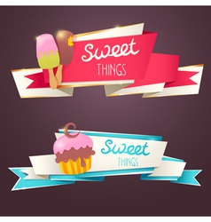 delicious set glittering and sparkling banners vector image