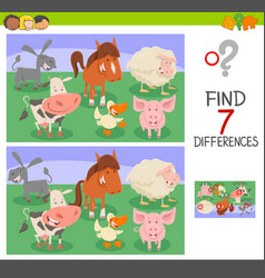 differences game with animal characters vector image