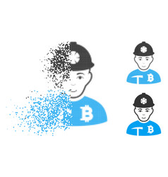 Dispersed dotted halftone bitcoin miner icon with vector