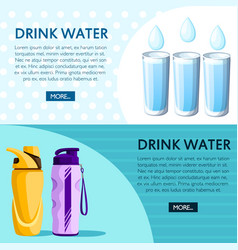 drink water concept sports bottles and glass vector image