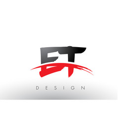 Et e t brush logo letters with red and black vector