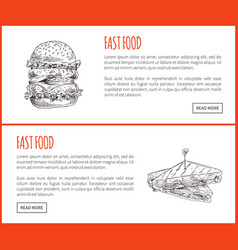 fast food sandwich and hamburger tasty appetizer vector image