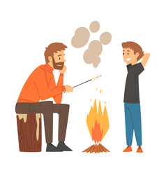 Father and son frying marshmallows on bonfire vector