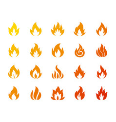 fire bonfire flame silhouette icon set vector image