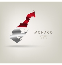 Flag monaco as a country with a shadow vector
