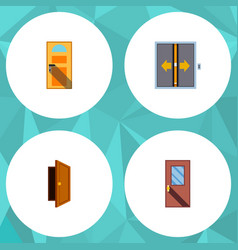 Flat icon door set of door lobby entry and other vector