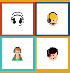 Flat icon telemarketing set of operator earphone vector