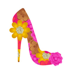 floral textured high heel shoe vector image