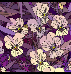 Flowers pale yellow violet pansy vector