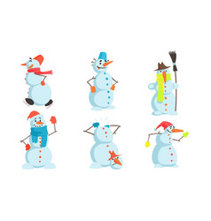 funny snowmen set winter christmas character in vector image