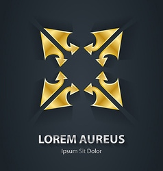 Gold star logo is made of arrows Award 3d icon vector image