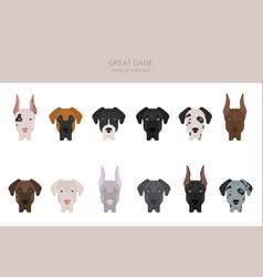 Great dane different varieties coat color dog vector