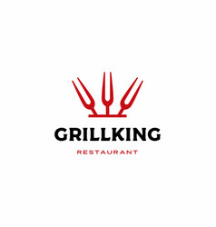 grill king fork logo icon vector image
