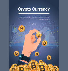 Hand hold golden bitcoin over charts and graphs vector