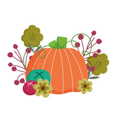 happy thanksgiving day pumpkin flowers fruits vector image