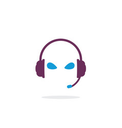 head with headphones vector image