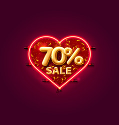 Heart sale 70 off ballon number on white vector