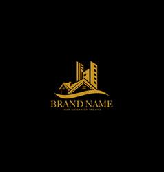 House design logo gold color vector