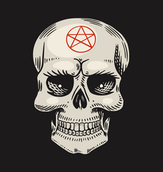 human skull with satanic symbols element magic vector image