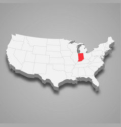 indiana state location within united states 3d map vector image
