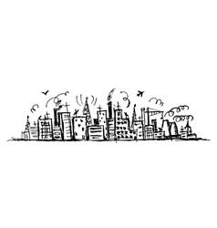 Industrial cityscape sketch vector