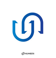 Initial letter u and n or s and c logo vector